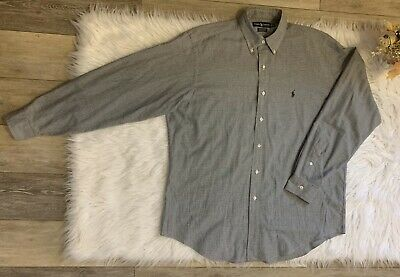 Mens Ralph Lauren Polo Houndstooth Sz Large 16 34/35 Long Sleeve Button Down