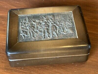 Vintage Wooden Box with Silver Embossed European Figural Design
