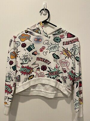 Girls Guess Crop Style Hoodie Jumper White With Urban Logos Styley Size 12