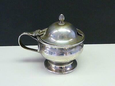 Arts & Crafts John Lawrence Sterling Silver Mustard Pot Container Blue Glass