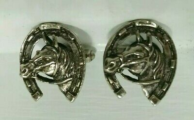 Vintage Cuff Links Horseshoe With Horse Head Inside