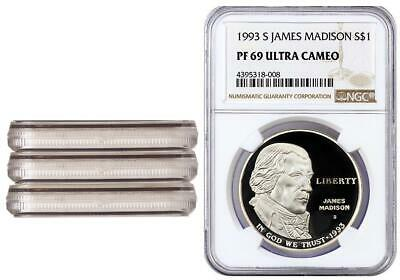 3 Coins 1993-S James Madison One Dollar NGC PF69 Commemorative Proof Silver Coin