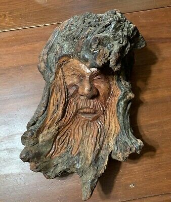 Carved Wood Spirit Vintage Folk Art Tree Carving, signed M. Gaber or Galer