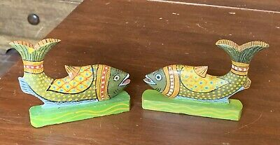 """2 Vintage 1940's Hand Crafted Wooden FISH Figures Indian India, 4.5"""""""