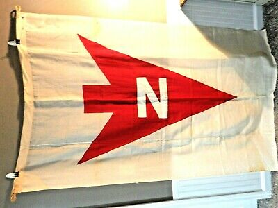 "Antique Flag HUGE 45"" x 72"" Maritime Nautical Directional Norton Lilly Line"