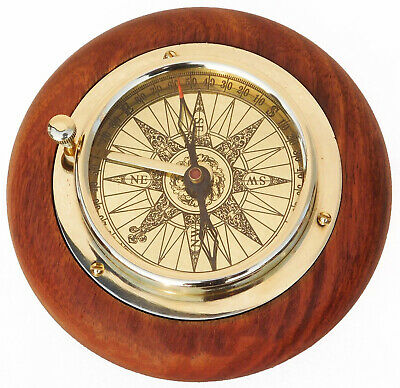 Tabletop Brass Compass Nautical Rose Wooden Base Stand Compass Collectible
