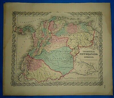 Vintage 1857 MAP ~ VENEZUELA - ECUADOR ~ Old Antique Original Colton's Atlas Map