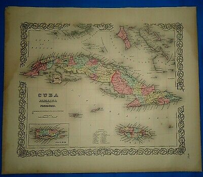 Vintage 1857 MAP ~ CUBA - JAMAICA ~ Old Antique Original Colton's Atlas Map