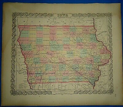 Vintage 1857 MAP ~ IOWA ~ Old Antique Original Colton's Atlas Map