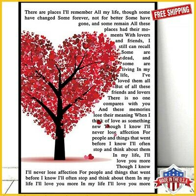 FREESHIP The Beatles In My Life Lyrics Tree Heart Paper Poster No Frame Art