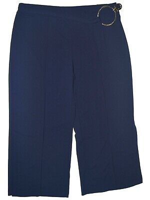 NY Collection Women's Blue Size 2XP Plus Cropped Dress Pants Stretch $54 #099