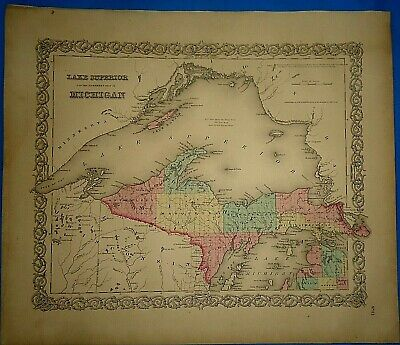 Vintage 1857 MAP ~ LAKE SUPERIOR ~ Old Antique Original Colton's Atlas Map