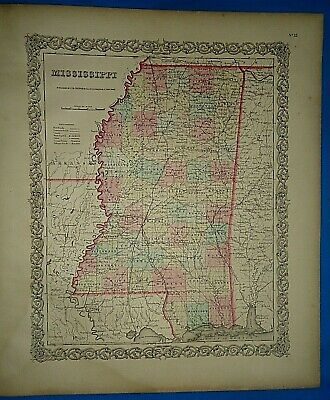 Vintage 1857 MAP ~ MISSISSIPPI ~ Old Antique Original Colton's Atlas Map