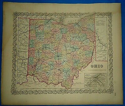 Vintage 1857 MAP ~ OHIO ~ Old Antique Original Colton's Atlas Map