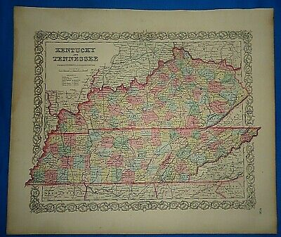 Vintage 1857 MAP ~ KENTUCKY - TENNESSEE Old Antique Original Colton's Atlas Map
