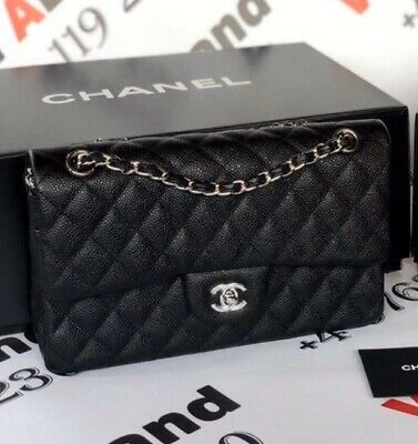 HIGH  quality Black Quilted Real Leather Double Flap Bag.Flawless.Brand New.