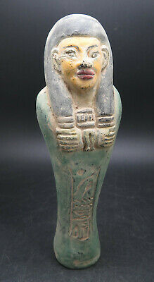 Ancient Egyptian Hieroglyphics Faience Shabti Statue