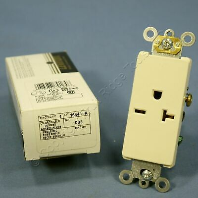 Leviton Almond Decora COMMERCIAL Receptacle Single Outlet 250V 20A 16441-A Boxed