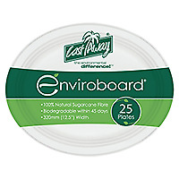 250 Castaway Plates Oval 320Mm Biodegradable 9 Inch