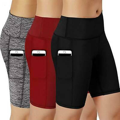 Women Compression Sports Yoga Shorts Pants Pocket Running Fitness Gym Briefs A7
