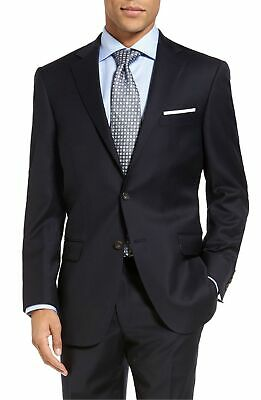 $695 Hart Schaffner Marx New York Classic Fit Stretch Suit Jacket 44S Navy