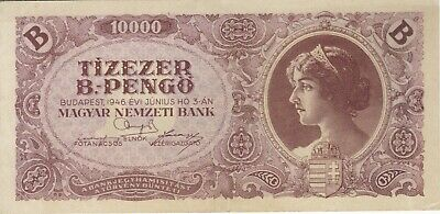1946 10 Quadrillion Pengo Hungary Currency Banknote Note Money Bank Bill Cash B