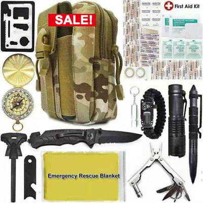 40 In 1 Survival Kit Outdoor Military Tactical Backpack Emergency Rescue Tools