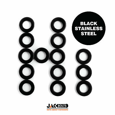 Black Stainless Steel Flat Washer M3, M4, M5, M6, M8 - From Jacbolts