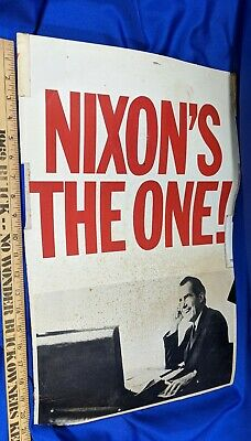 1968 Richard Nixon's The One! President Campaign Poster Indiana Stickers #3 VTG