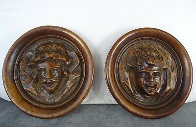 Antique French Hand Carved Walnut Wood Pair Plaque Face Figure