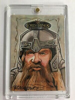 Lord Of The Rings Evolution Sketch Card Gimli By Randy Martinez 1/1
