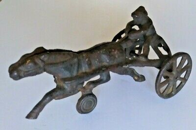 Antique Cast Iron Sulky Horse And Jockey Roll Toy