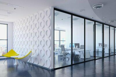 Office Partition System, Glass Aluminum Walls In Frosted, Milky, Smoked Colors