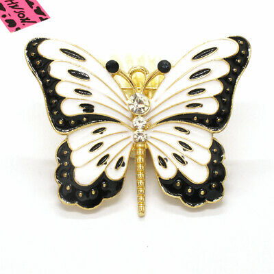 Hot Betsey Johnson White Enamel Cute Butterfly Crystal Charm Brooch Pin Gift