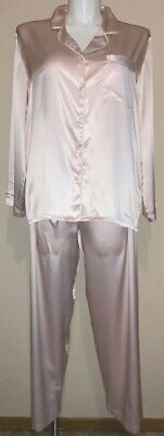VICTORIAS SECRET~VTG '00~SOFT PINK~ LIQUID SATIN~2 Pc PAJAMA SET~SHINY~GLOSSY~L