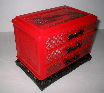 Vintage Chinese Oriental Red Plastic 3 Drawer Chest / Jewelry Box