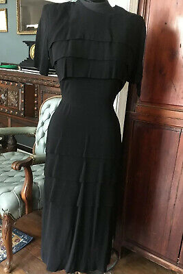 Vintage 1930s 1940s Black Rayon Fitted Dress Gown Layered Skirt Bodice Back Zip
