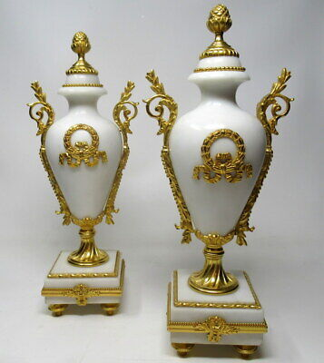 Antique Pair of French Ormolu White Cream Marble Garniture Vases Urns
