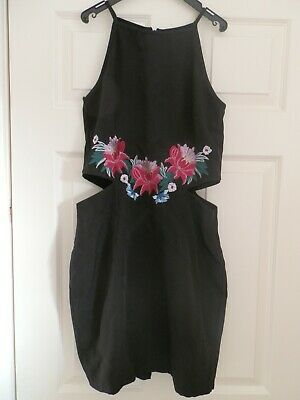 Pretty Little Thing Black Pink Floral Cut Out Dress Size 12 VGC