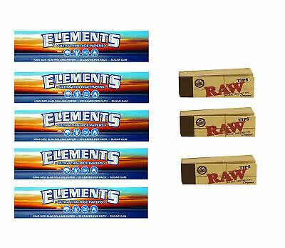 5x Elements King Size Slim Thin Rice Rolling Rizla Papers + 3x RAW Roaches Tips