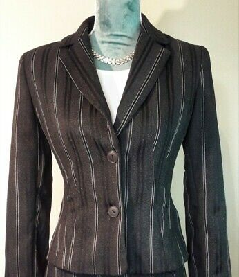 Anstyl Designer Womens tailored Suit pinstripe  Knee Length size 10uk