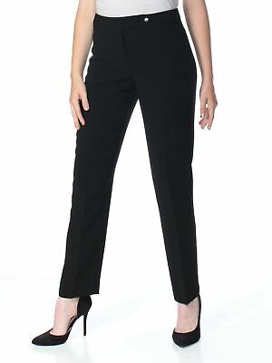 Tahari by ASL Women's Dress Pants Black Size 14X31 Flat Front Zip-Fly $99 #472