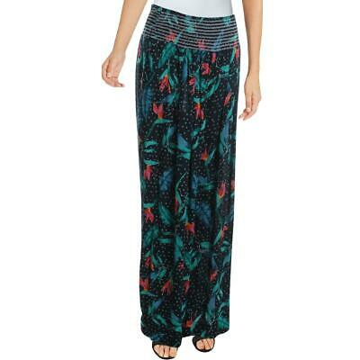 Aqua Womens Navy High Rise Floral Gauze Wide Leg Pants L BHFO 8551