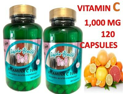 Vitamin C 1000 mg. 120 Capsules. 2 Bottles Packs.Improve Immune System.