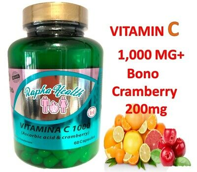 Vitamin C 1000mg 60 capsules -- Antioxidant + Immune Support DEFENSE Cramberry +