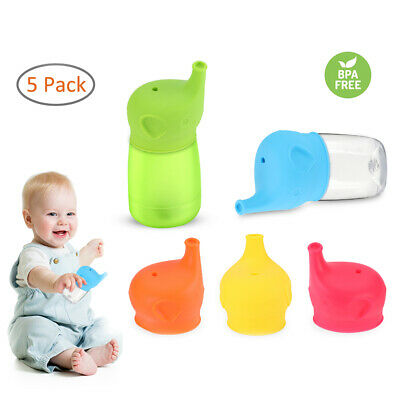 5x Toddlers Babies BPA-Free Silicone Sippy Lids For Any Cup Spill Proof Reusable