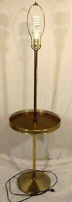 Mid-Century Modern Brass Floor Lamp Faux Wood Table W/Rail 3-Way Light Vintage