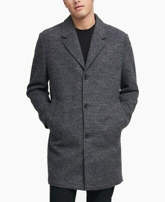 DKNY Mens Coat Gray Size Large L Tailored Two-Button Notched Wool $350 #128