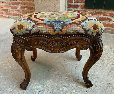 Antique French Carved Oak Stool Bench Louis XV style Tabouret Needlepoint