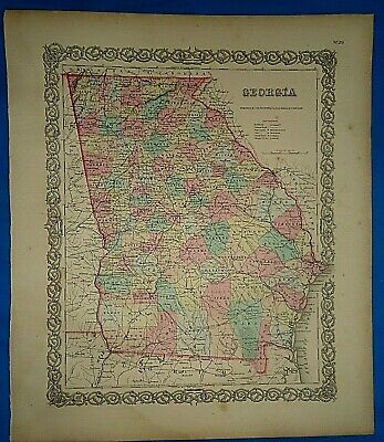 Vintage 1857 MAP ~ GEORGIA ~ Old Antique Original Colton's Atlas Map